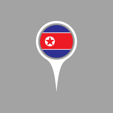north korea: north korea flag,pin Illustration