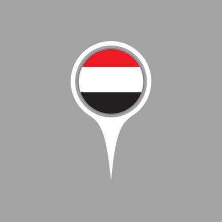 flag pin: yemen flag,pin Illustration