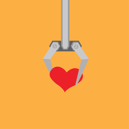 bras robot: Robot arm with   heart Illustration