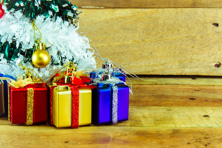 christmas tree presents: Christmas tree with many presents under it Stock Photo