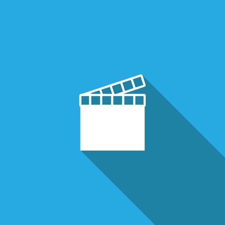 movie clapper: movie clapper icon,long shadow