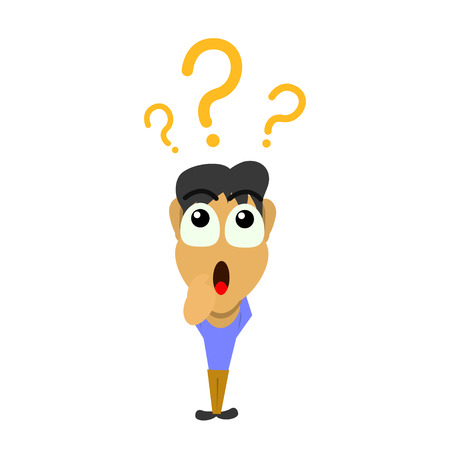 marks: Man with question marks Illustration
