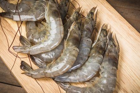 tiger shrimp: shrimp on the wood