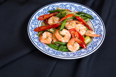long beans: shrimp with  vigna unguiculata subsp and paprika, Thai food