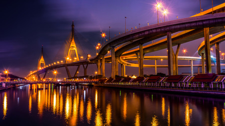 bhumibol: Bhumibol Bridge with sunset Stock Photo