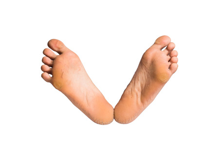 female soles: foot on white background Stock Photo