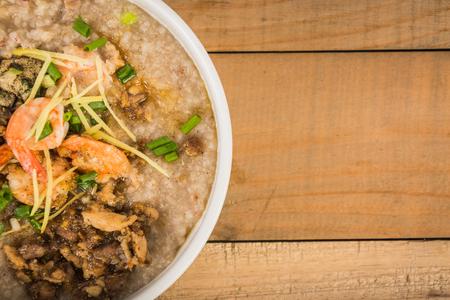 mush: Mush rice on wooden Stock Photo