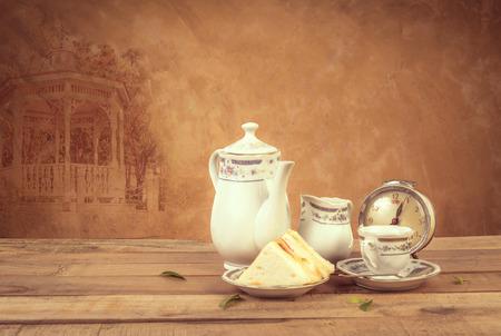 old english: Tea composition, tea set, picture style vintage Stock Photo
