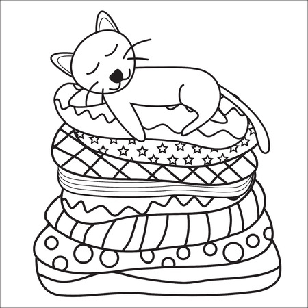 cat sleeping: Cat sleeping on the couch Illustration