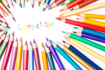 competitor: Colour pencils with draw  competitor Stock Photo