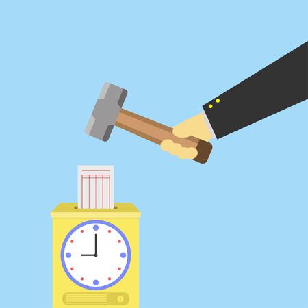 grabadora: Registrador de tiempo con el martillo