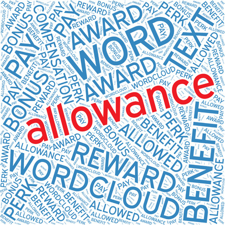 allowance: Allowance,Word cloud art  background