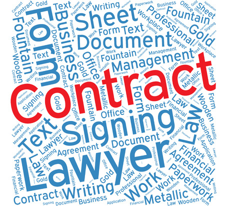 signing papers: Contract ,Word cloud art  background