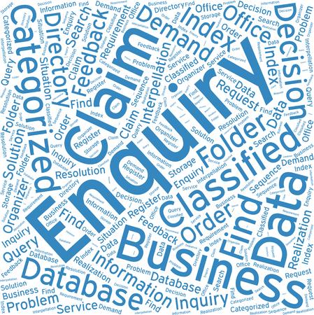 enquiry: Enquiry, Word cloud art  background Illustration
