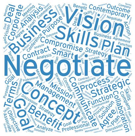 Verhandeln, Word-Cloud-Kunst Hintergrund