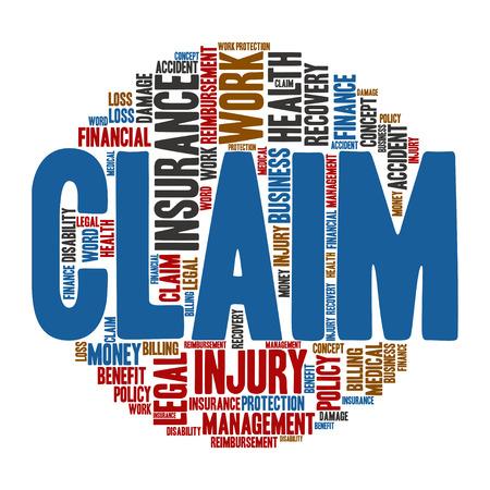 Claim ,Word cloud art  background Illustration