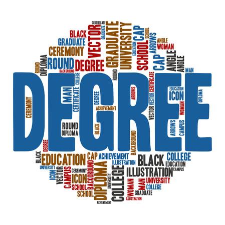 degree: Degree ,Word cloud art  background Illustration