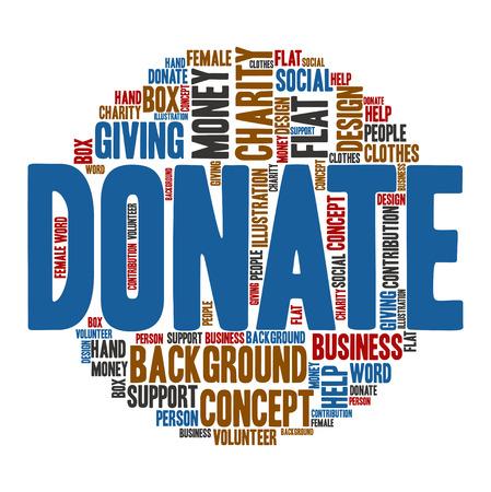 Donate ,Word cloud art  background