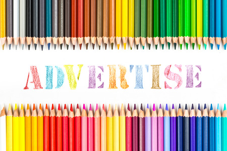 advertise: advertise drawing by colour pencils Stock Photo