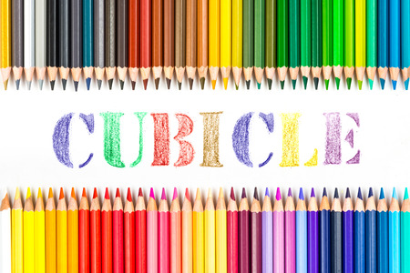cubicle: Cubicle drawing by colour pencils Stock Photo