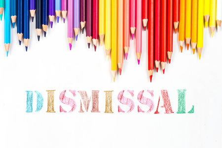 unemployed dismissed: Dismissal drawing by colour pencils