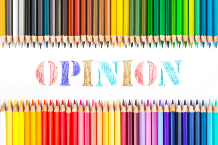 opinion: Opinion drawing by colour pencils Stock Photo