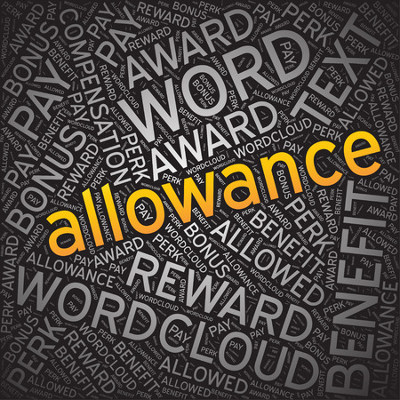 allowance: Allowance, Word cloud art background Illustration