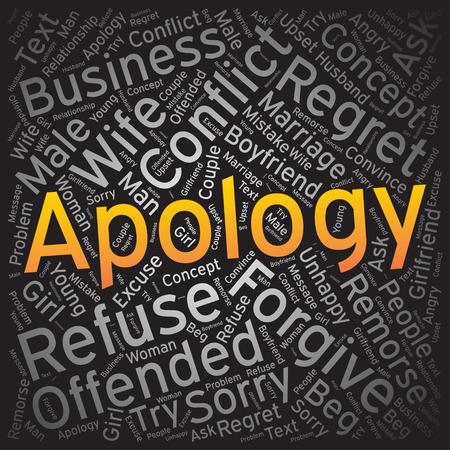 apology: Apology, Word cloud art background Illustration