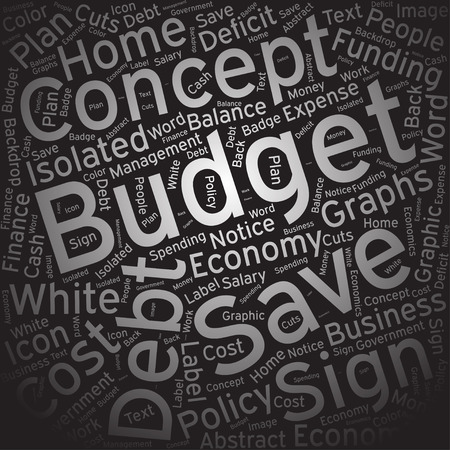 deficit: Budget, Word cloud art background Illustration