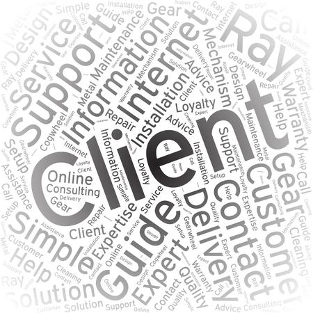 client, Word cloud art background Illustration