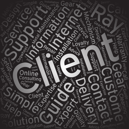 satisfied customer: client, Word cloud art background Illustration