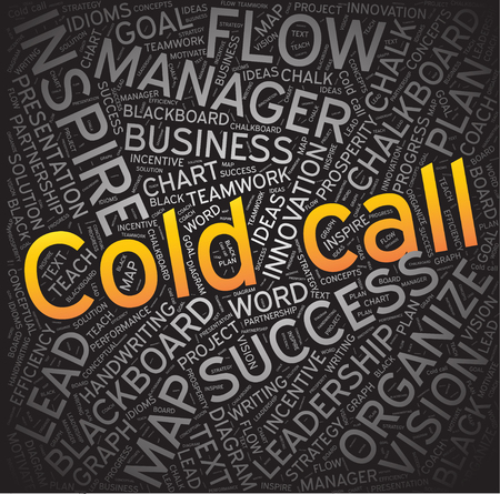 unsolicited: cold call, Word cloud art background