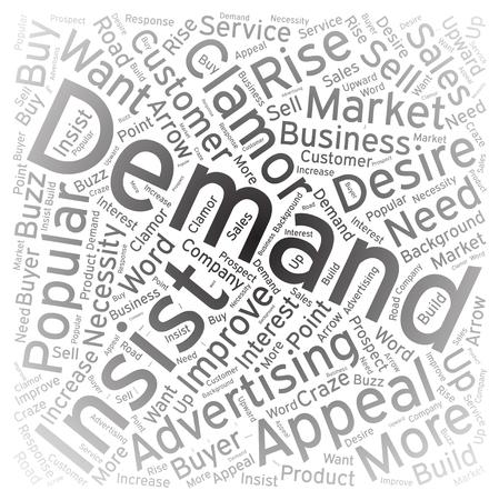 demanding: Demand, Word cloud art background Illustration