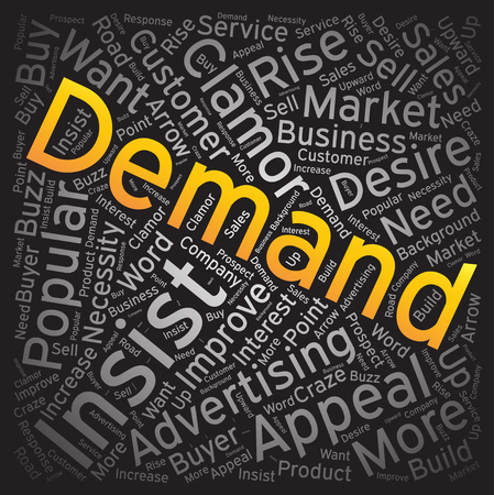 demand: Demand, Word cloud art background Illustration