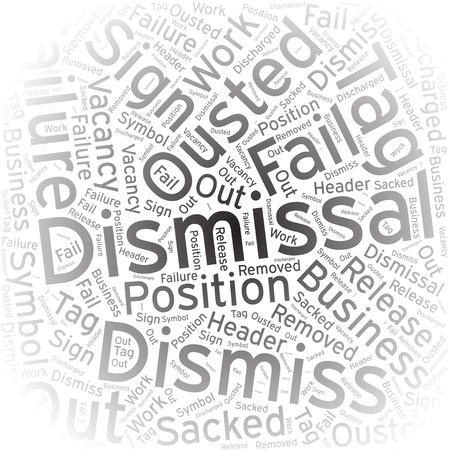 dismissal: Dismissal, Word cloud art background Illustration