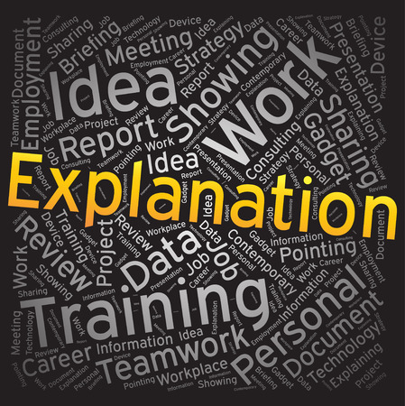 explanation: Explanation ,Word cloud art background Illustration