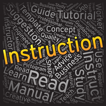 instruction: Instruction ,Word cloud art background Illustration