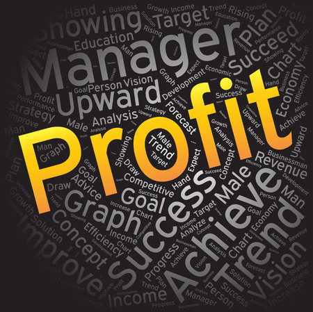 Profit, Word cloud art fond