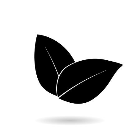 reversed: Leaf Icon Illustrations on white background
