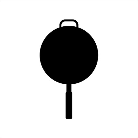 frying: Black silhouettes of frying pan