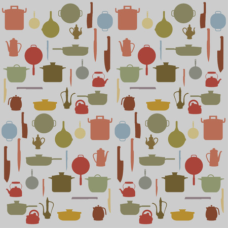Silhouettes of Kitchenware , vector for background