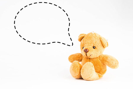 callout: teddy bear with callout symbol on white background