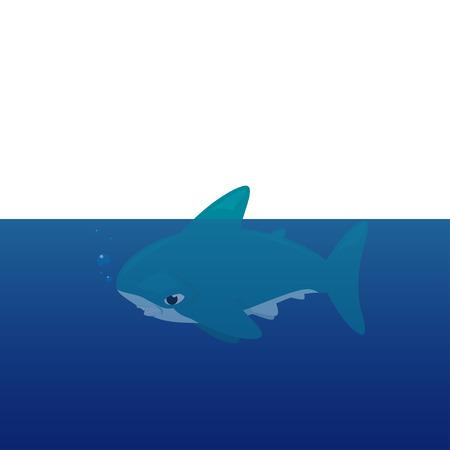 pez martillo: Vector de dibujos animados - tiburón martillo (Sphyrnidae)