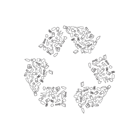 bin tub: Recycling icons including paper, glass, aluminum, cardboard and plastic Illustration