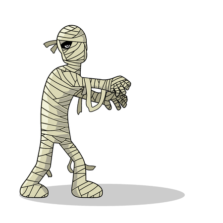 face covered: Standing Mummy Halloween Monster Cartoon Illustration