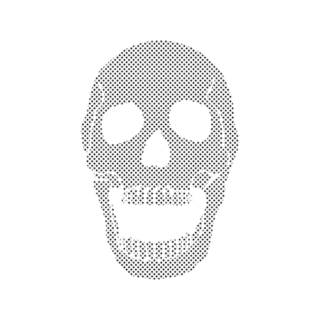 sapiens: Black and white human skull with a lower jaw.