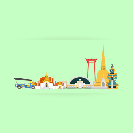 wat arun: Thailand Travel Landmarks. Vector and Illustration