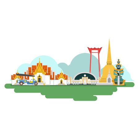 Thailandia Punti di riferimento. Illustrazione vettoriale e