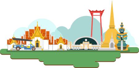 Tajlandia podróży Zabytki. Wektora i ilustracji