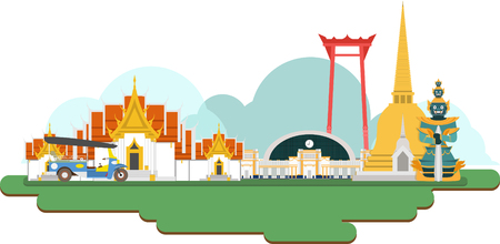 Thailand Travel Landmarks. Vector en Illustratie